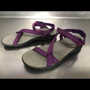 Girls Purple Striped Teva Sandal - Size 2